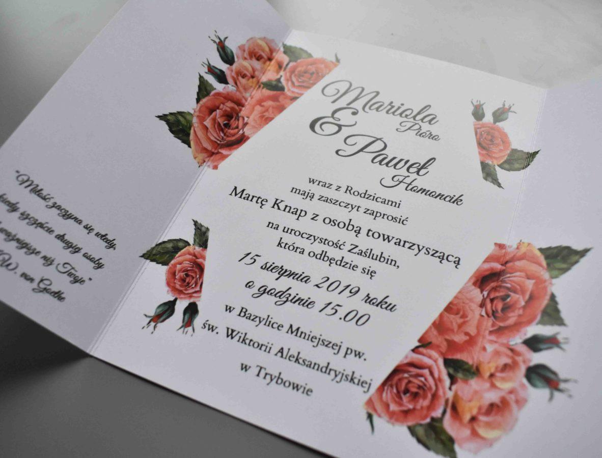 Tekst zaproszenia ślubnego Czerwień róż