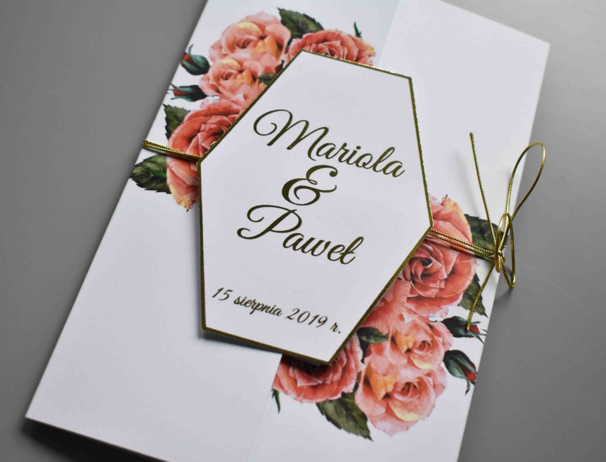 Zaproszenie na ślub otwierane Czerwien róz