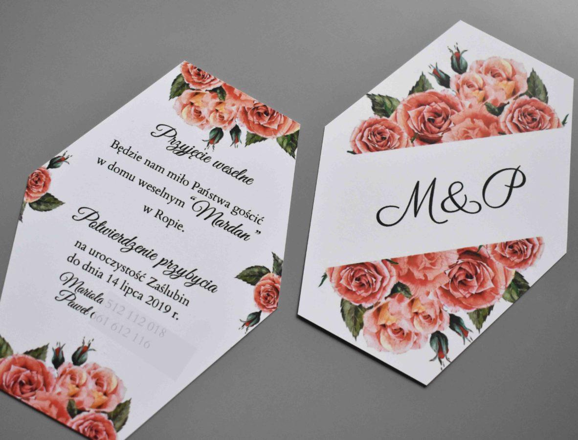 Wkładki do zaproszenia ślubnego Czerwień róż