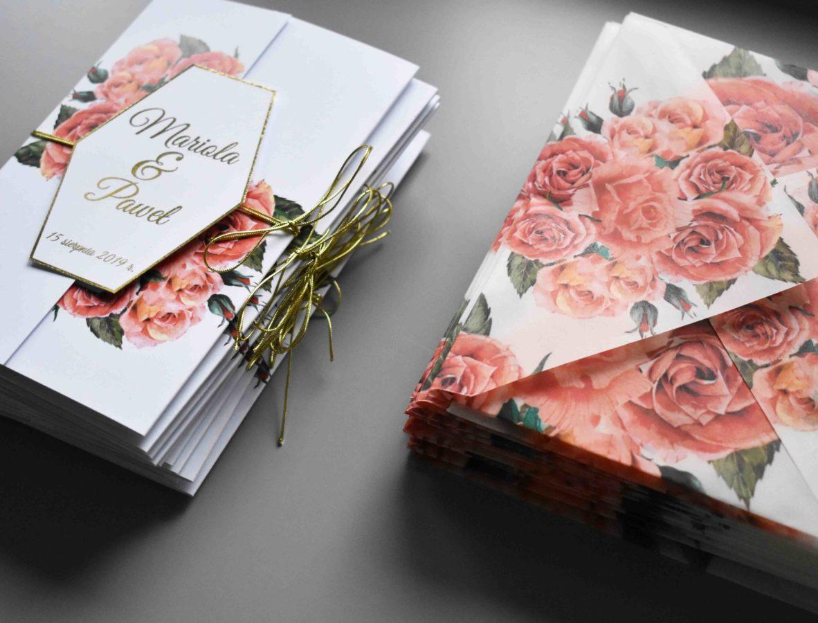 Zaproszenie na ślub i koperta transparentna Czerwień róż
