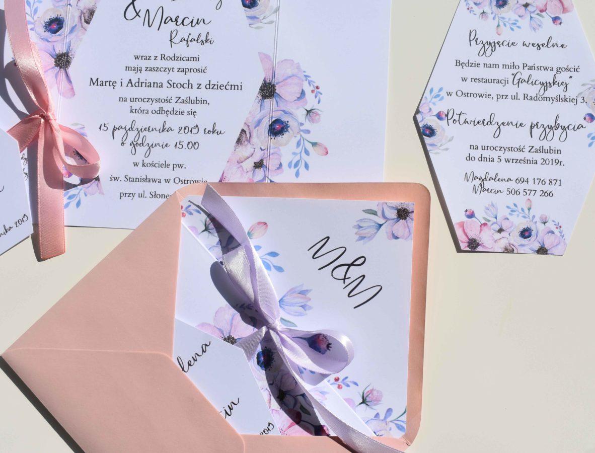 Zaproszenie ślubne z anemonami