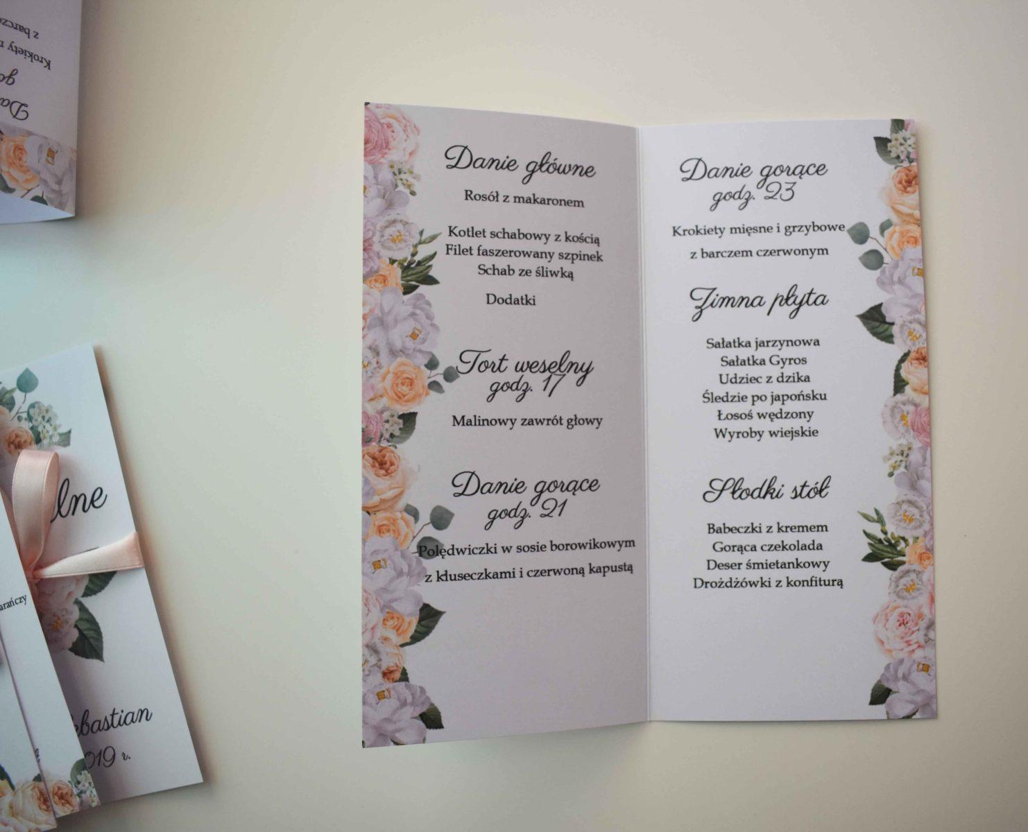 Otwierane menu weselne