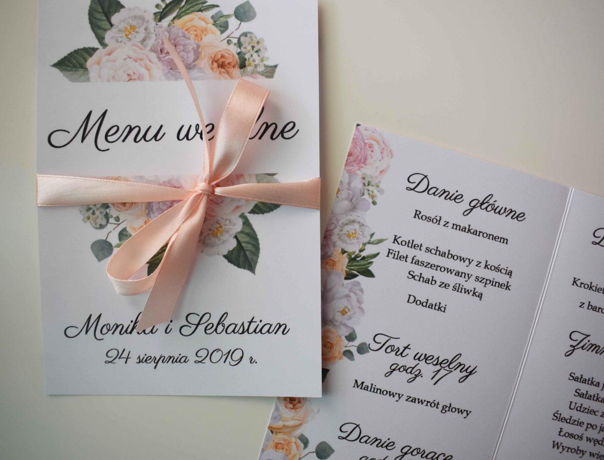 Jednokartkowe menu weselne