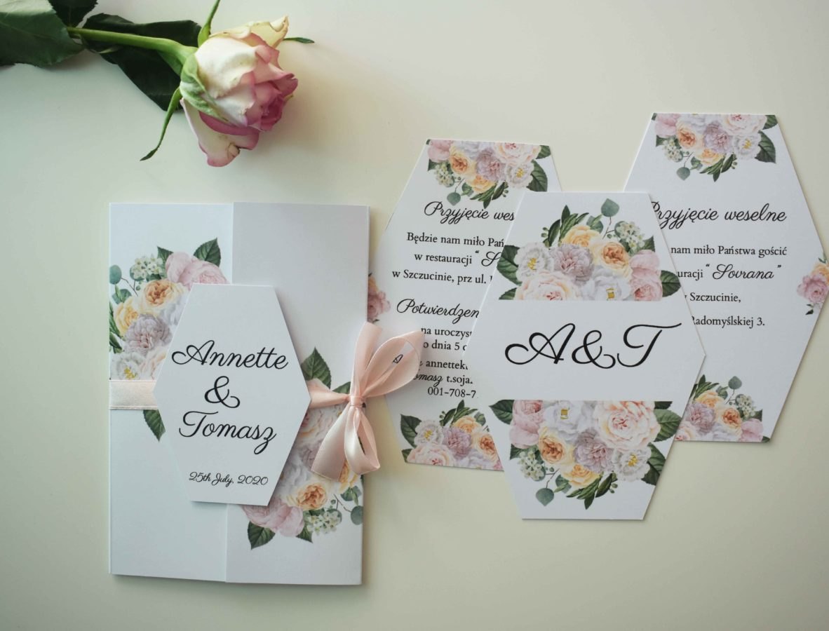 Zaproszenie ślubne Promienne kwiaty