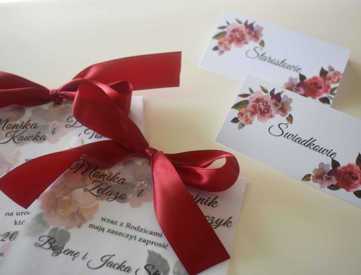 Zaproszenie na ślub w kolorze bordo