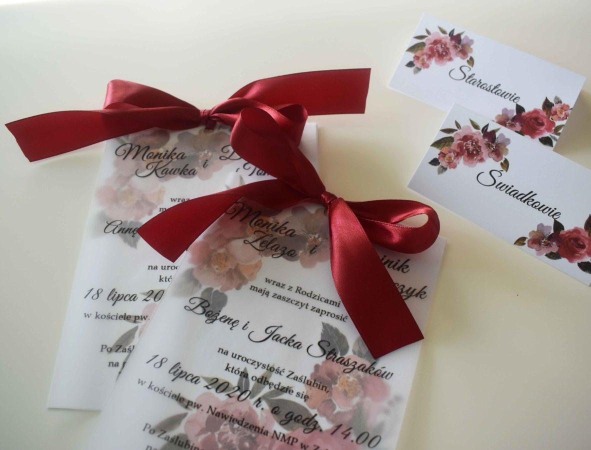 Zaproszenie ślubne kwiaty w bordo