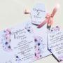 Zaproszenie ślubne w odcieniach fioletu i błękitu