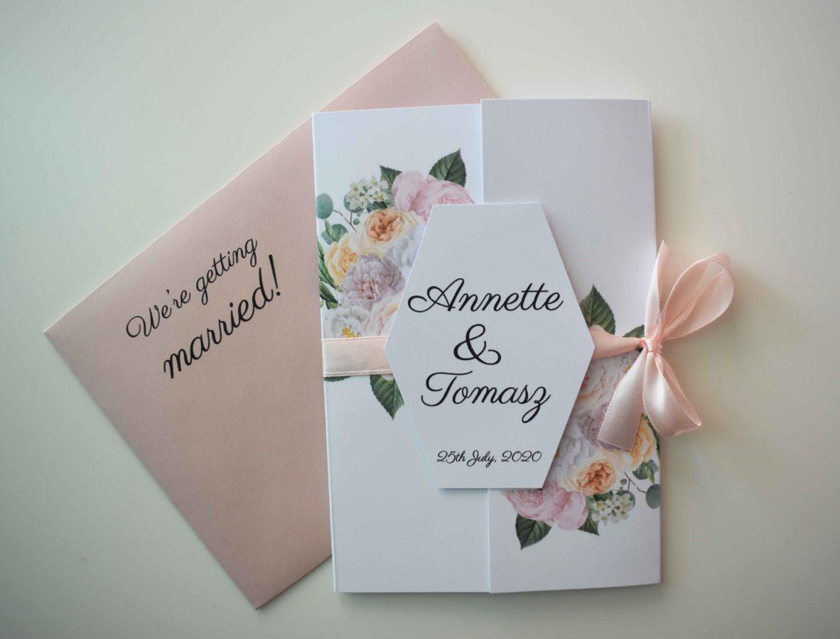 Zaproszenie ślubne z kopertą