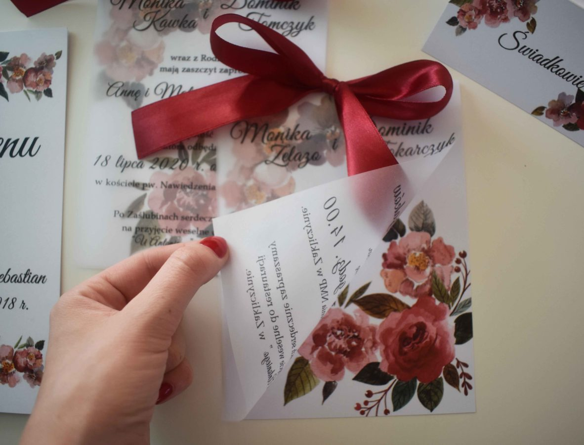 Bordo zaproszenie ślubne