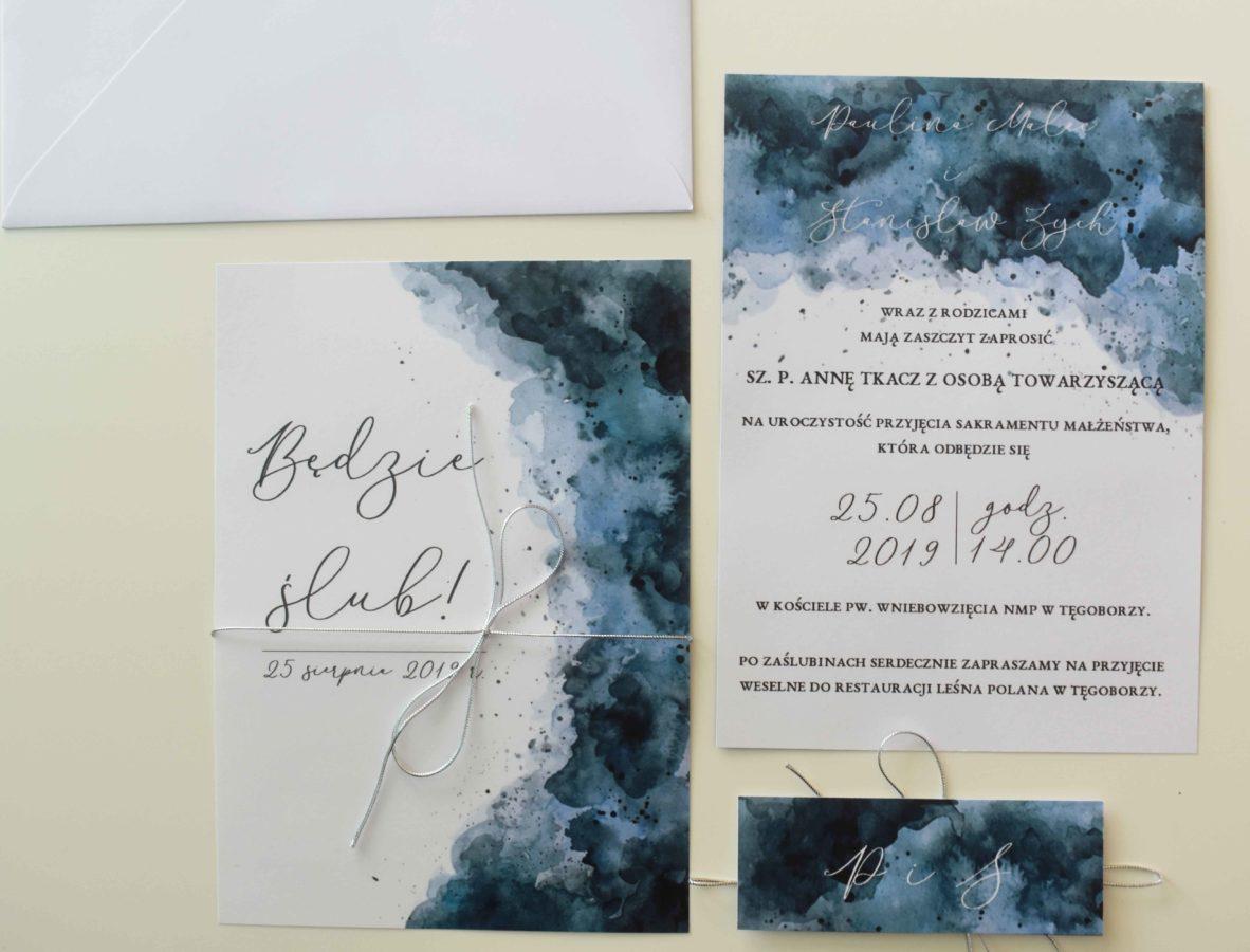 Zaproszenie ślubne morskie odcienie