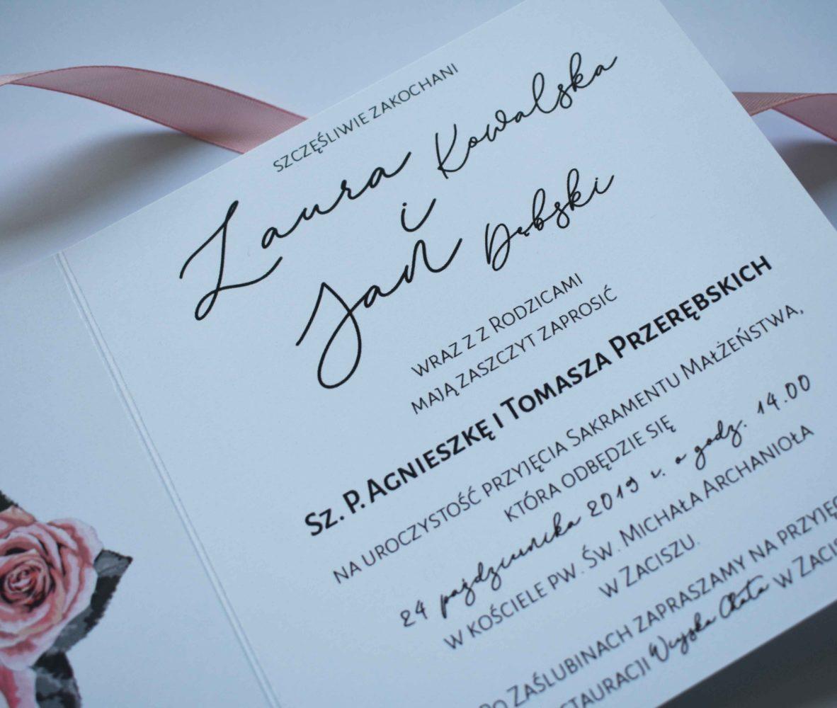 Zaproszenie ślubne róże