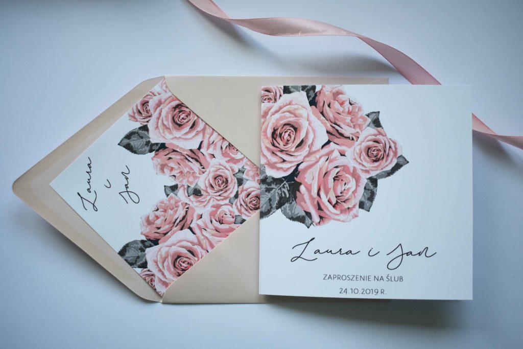 zaproszenie na slub roze