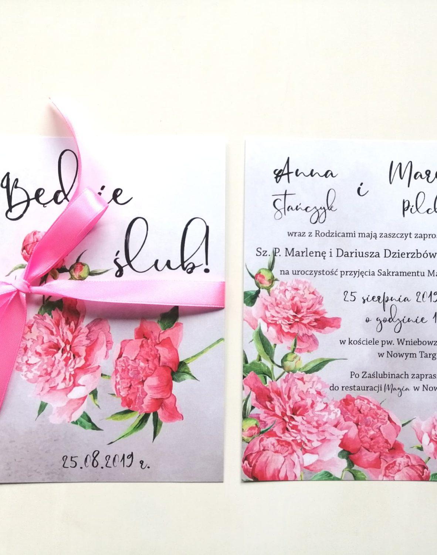 Zaproszenie ślubne z piwonią