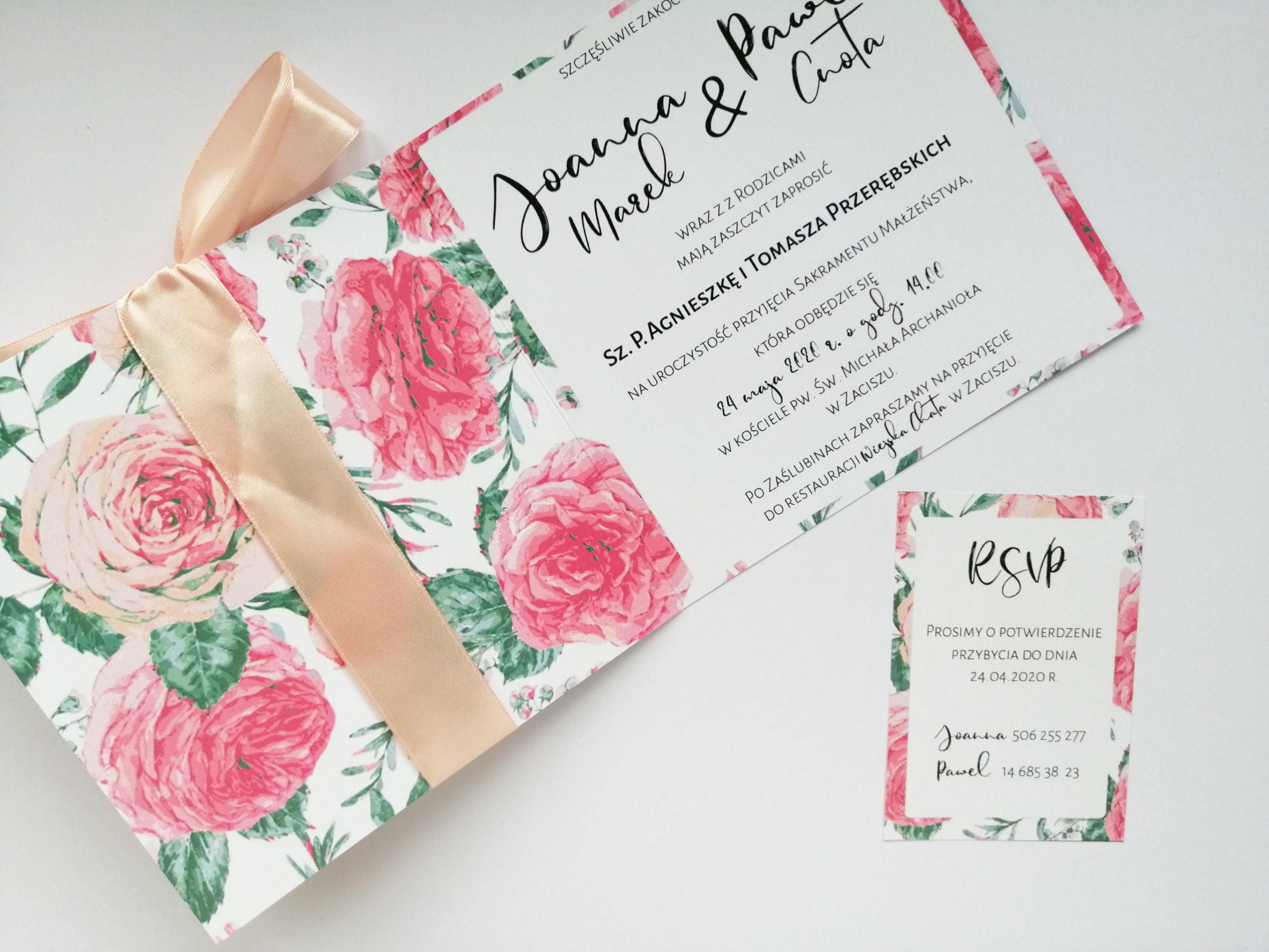 Zaproszenie na ślub Rózane 1