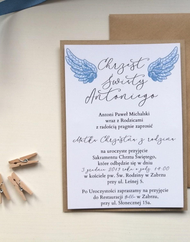 Zaproszenie na chrzest ze skrzydłami
