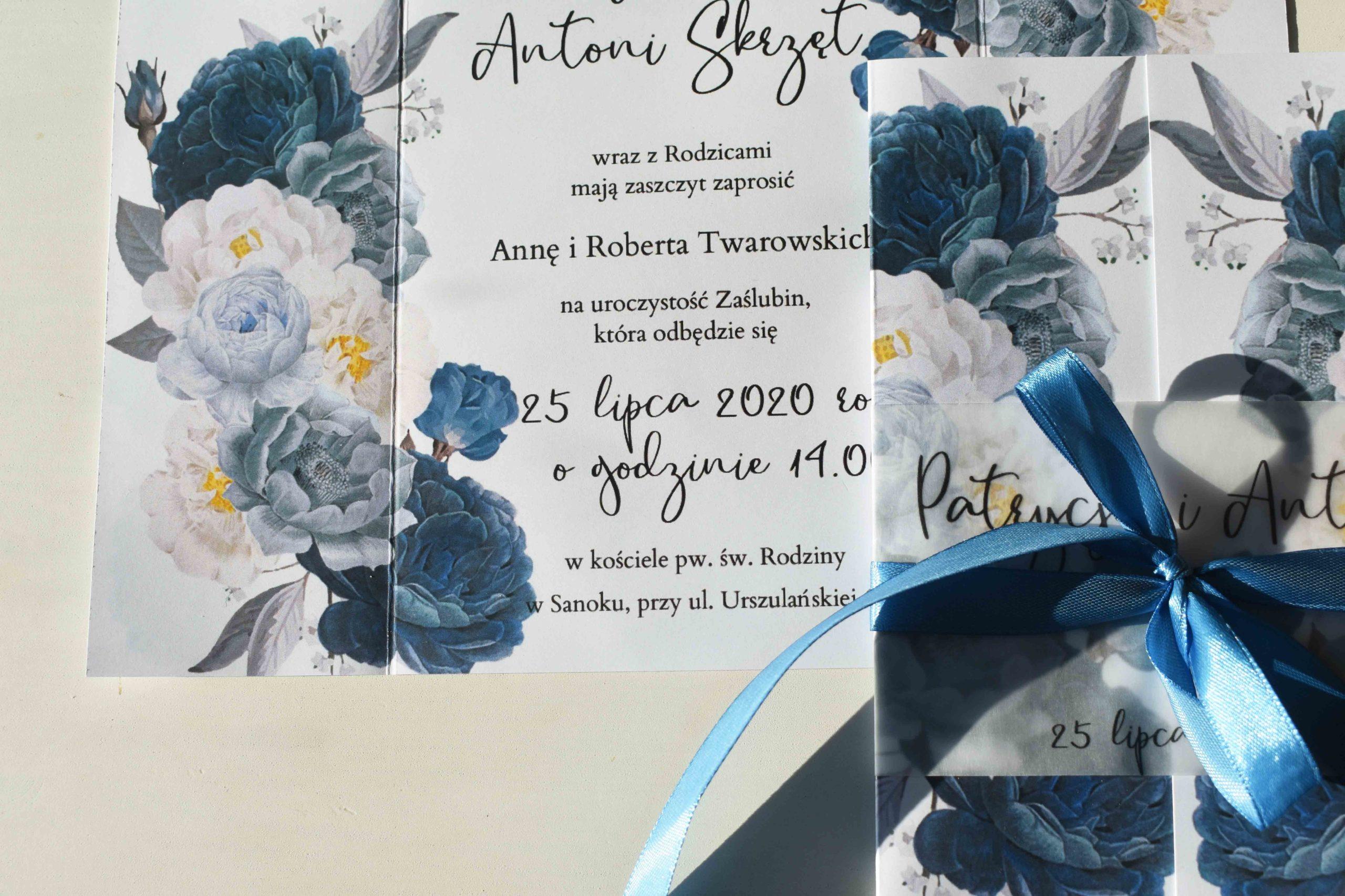Niebieskie kwiaty zaproszenie