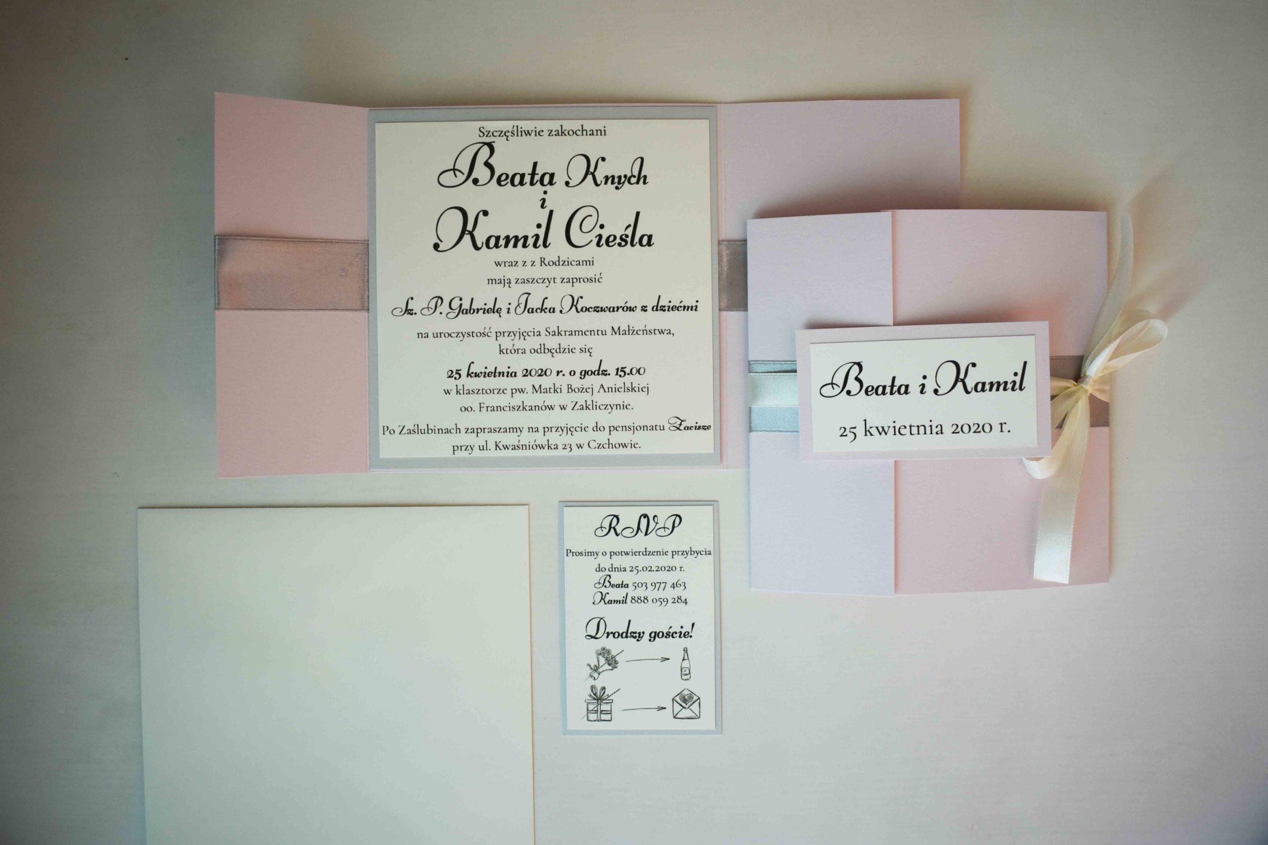 Różowe zaproszenie ślubne