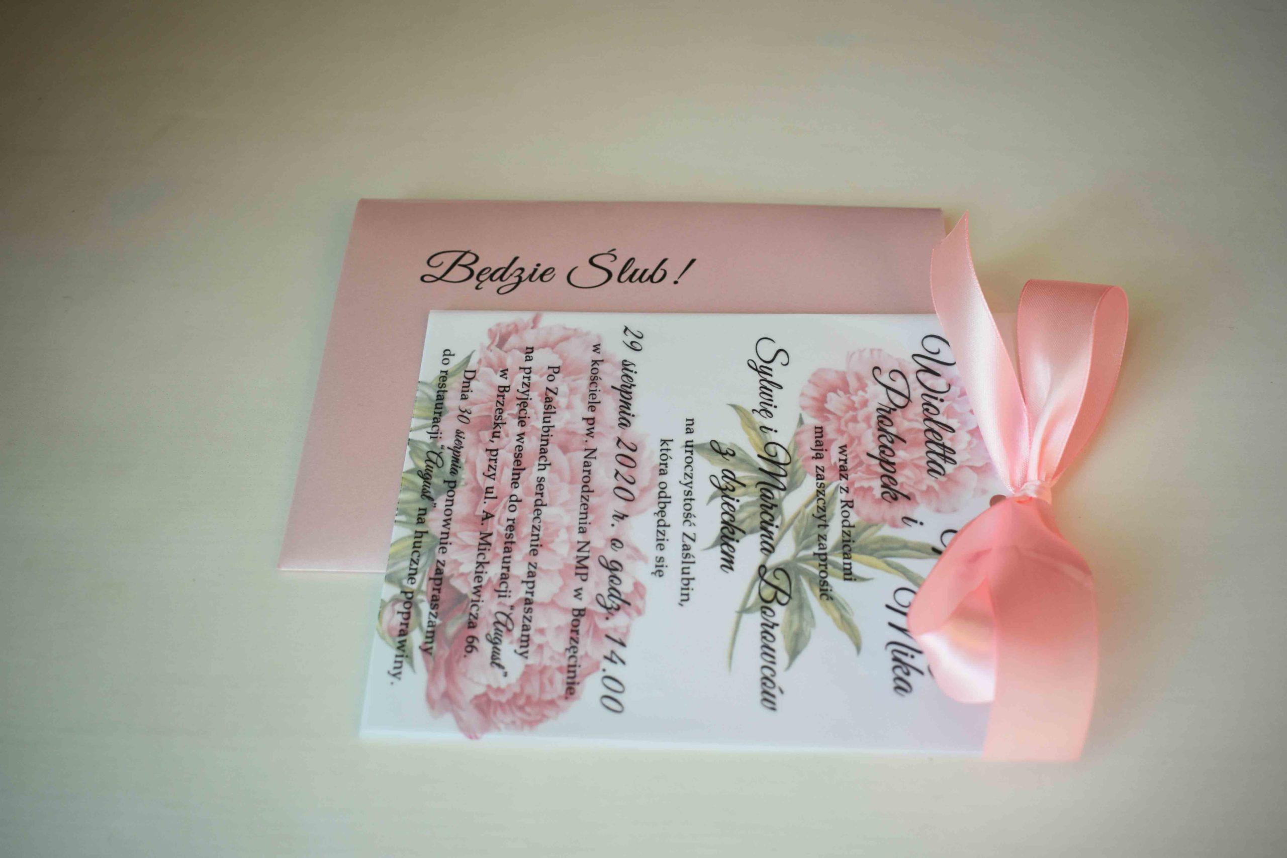 Zaproszenie ślubne piwonie
