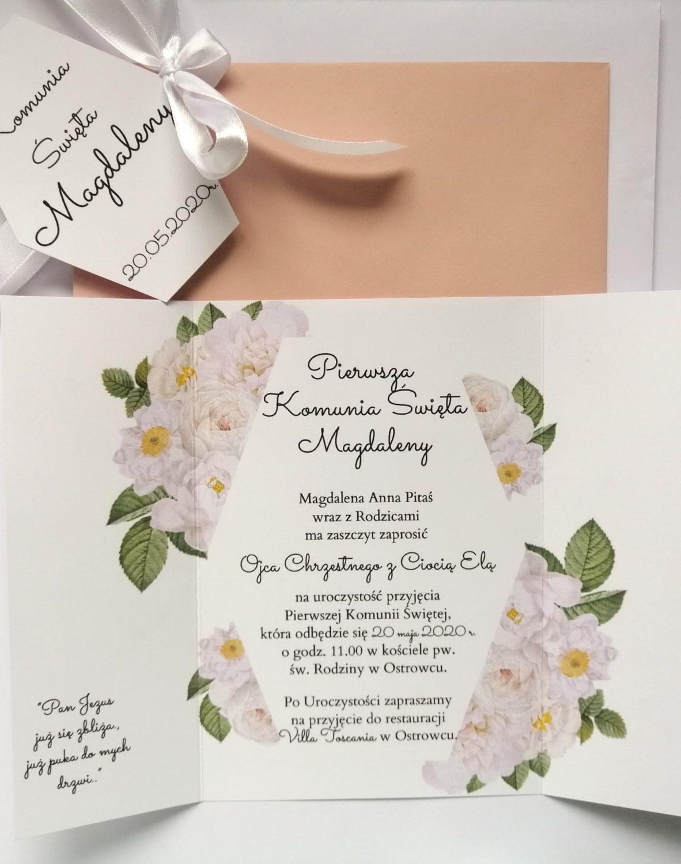 Zaproszenie Komunia św. białe kwiaty