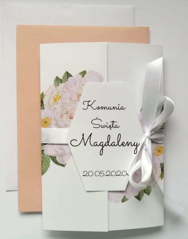 Zaproszenie na Komunię Św. białe róże